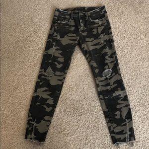 Zara camouflage skinny ripped  jeans
